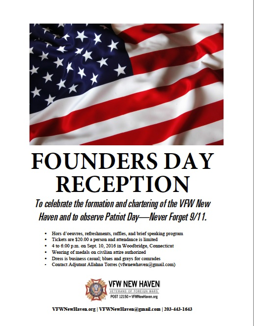 VFW NEW HAVEN HOSTS FOUNDERS DAY RECEPTION