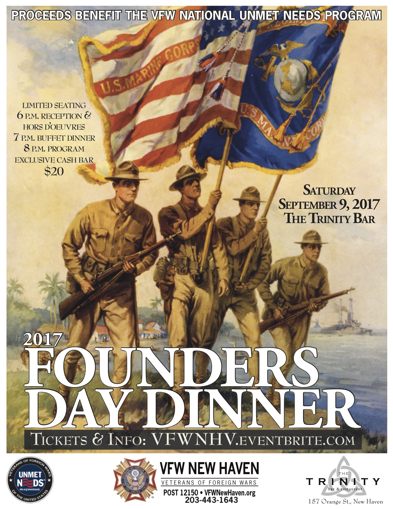 VFW NEW HAVEN TO HOST 2017 FOUNDERS DAY DINNER