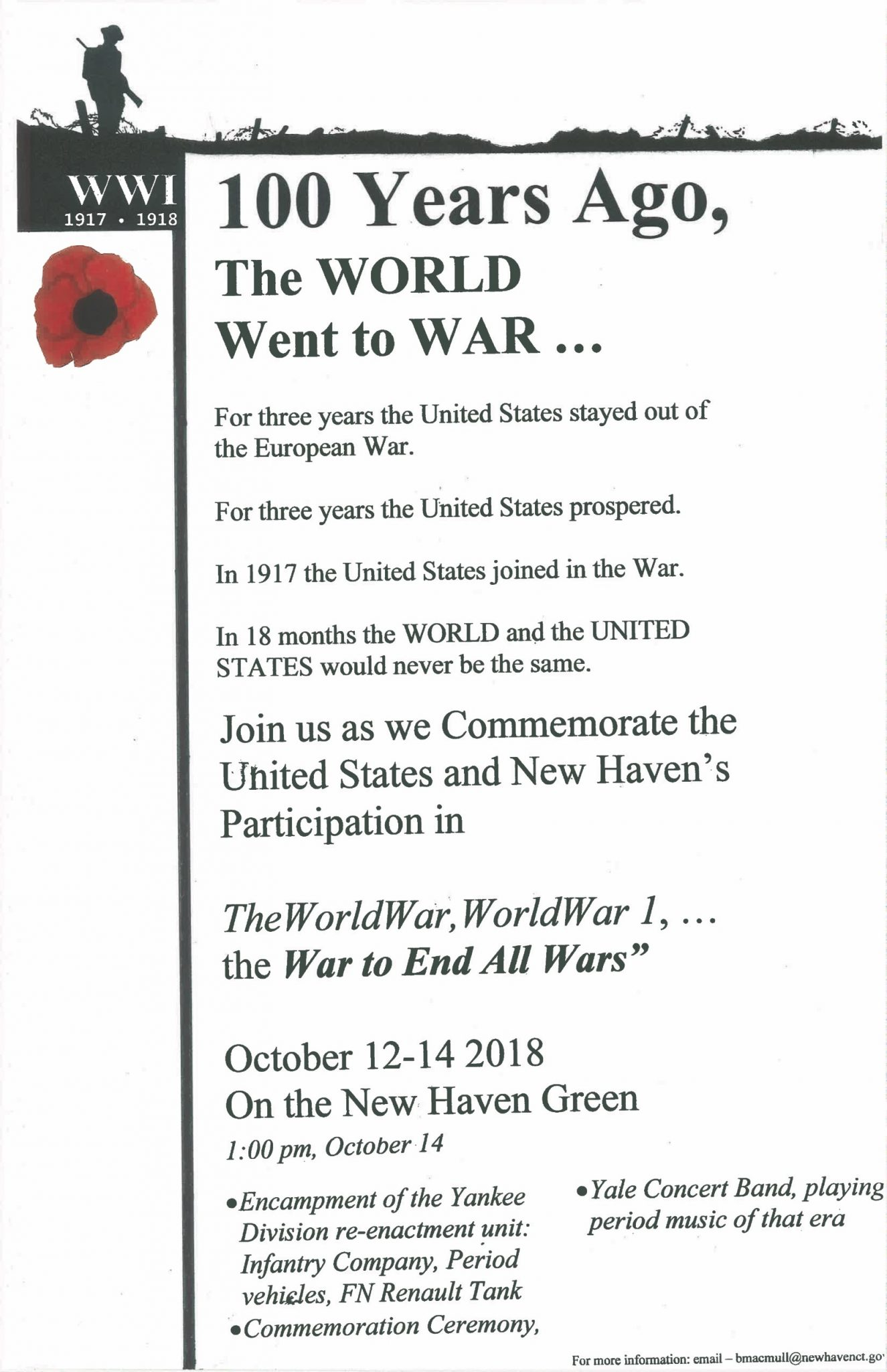 New Haven WWI Commemoration and Rededication