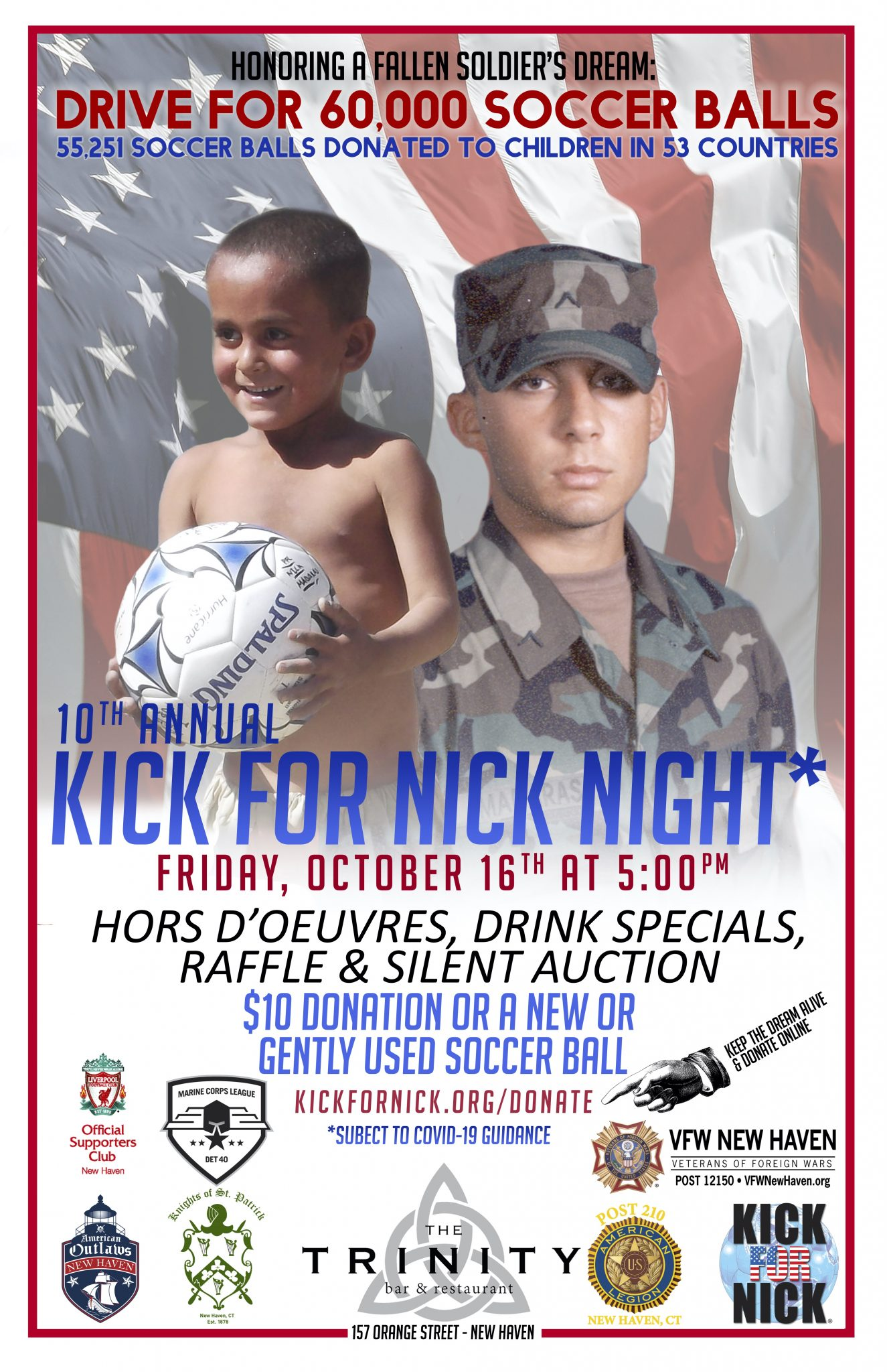 Poster for the 2020 New Haven Kick for Nick Night