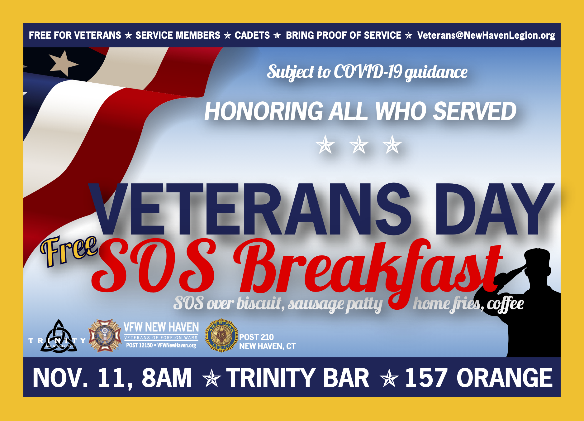 COVID-CANCELED: 2020 Veterans Day FREE SOS Breakfast